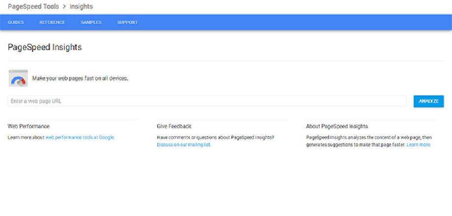 Google PageSpeed Insights frontpage
